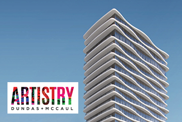 Rendering of Artistry Condos with logo overlay.