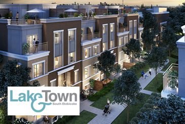 Rendering of Lake & Town in South Etobicoke with logo overlay.