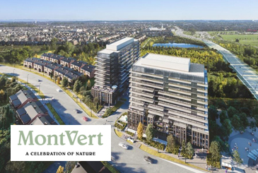 Rendering of MontVert condos with logo overlay.