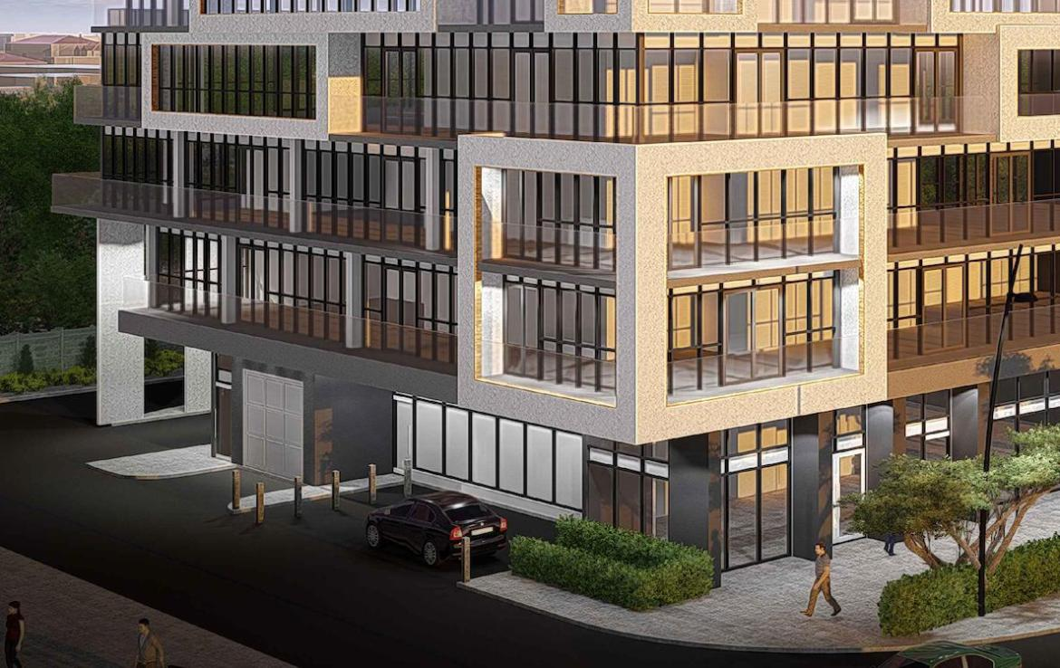 Rendering of 145 Sheppard East Condos at street level.