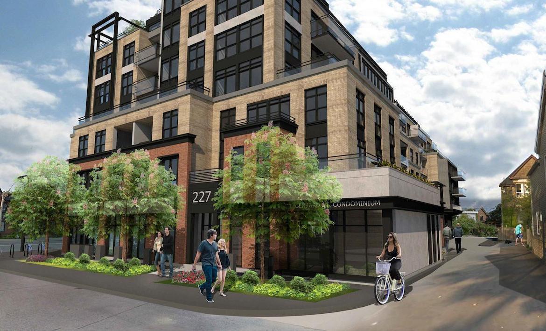 Exterior corner-view rendering of Gerrard Street East Condos.