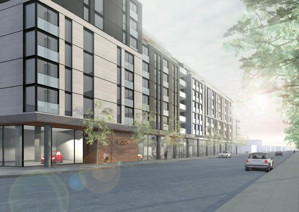 Rendering of 3385 Dundas Street West Condos side view.