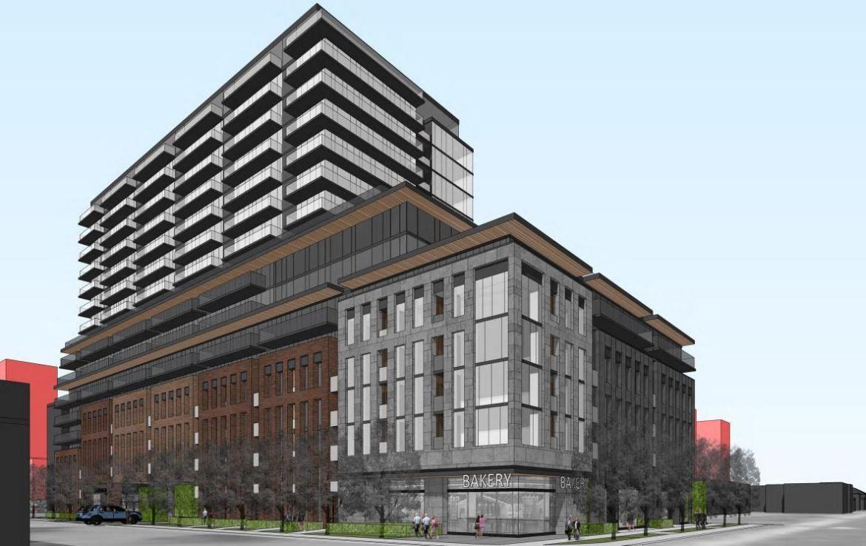 Exterior rendering of 85 Dundas Street West Condos.