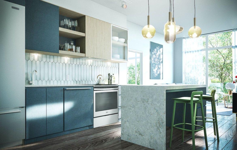 Rendering of Distrikt Trailside 2.0 Condos suite interior kitchen.