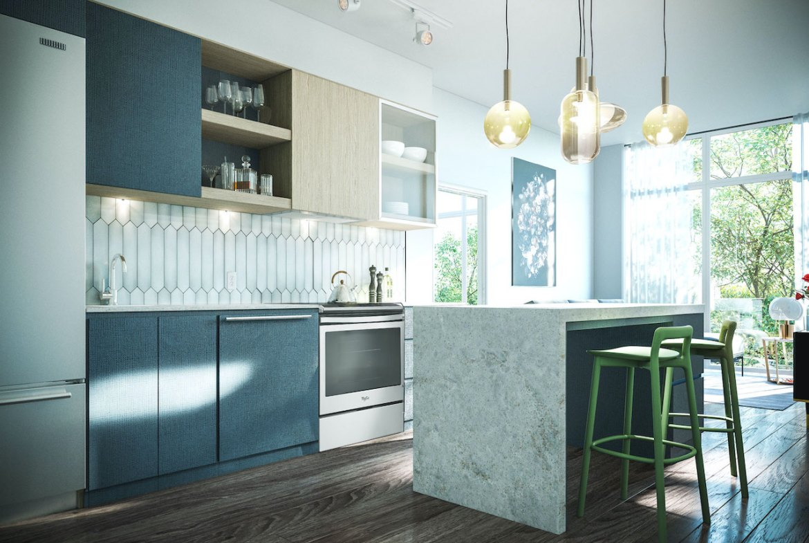 Rendering of Distrikt Trailside 2.0 Condos suite interior kitchen.