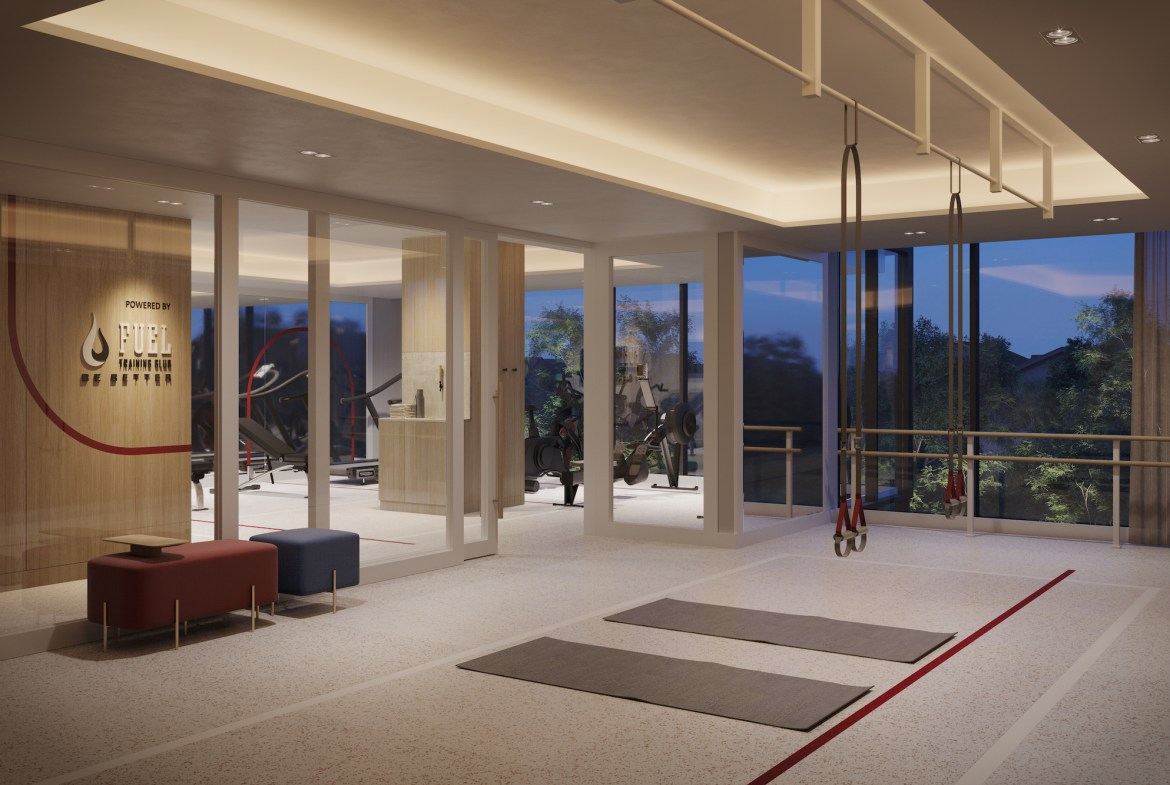 Rendering of The Tailor Queensway Residences fitness centre.