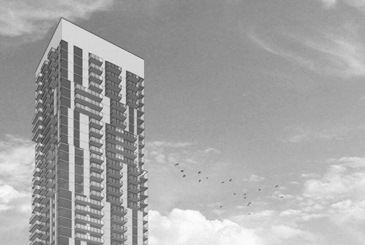 Partial rendering of 77 River St Condos in Toronto.