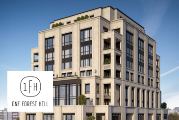 Exterior rendering of One Forest Hill with logo overlay.