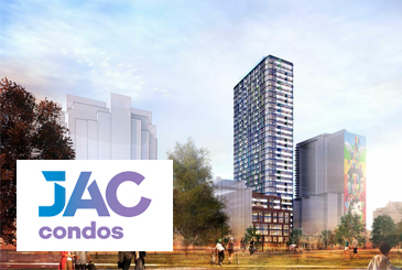 Rendering of JAC Condos with logo overlay.