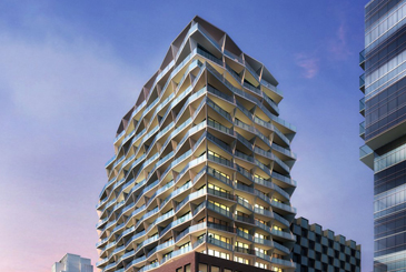Rendering of 663 King Street West Condos top half at dusk.