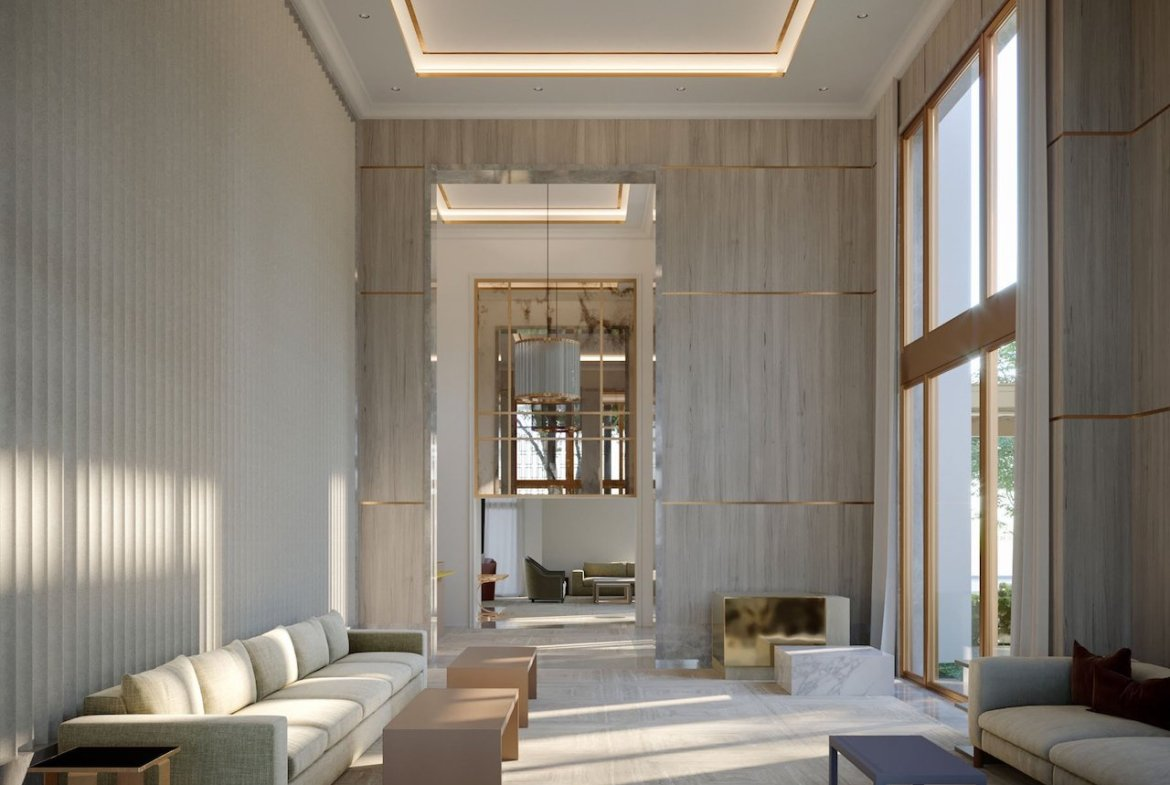 Lounge rendering of One Forest Hill Condos.