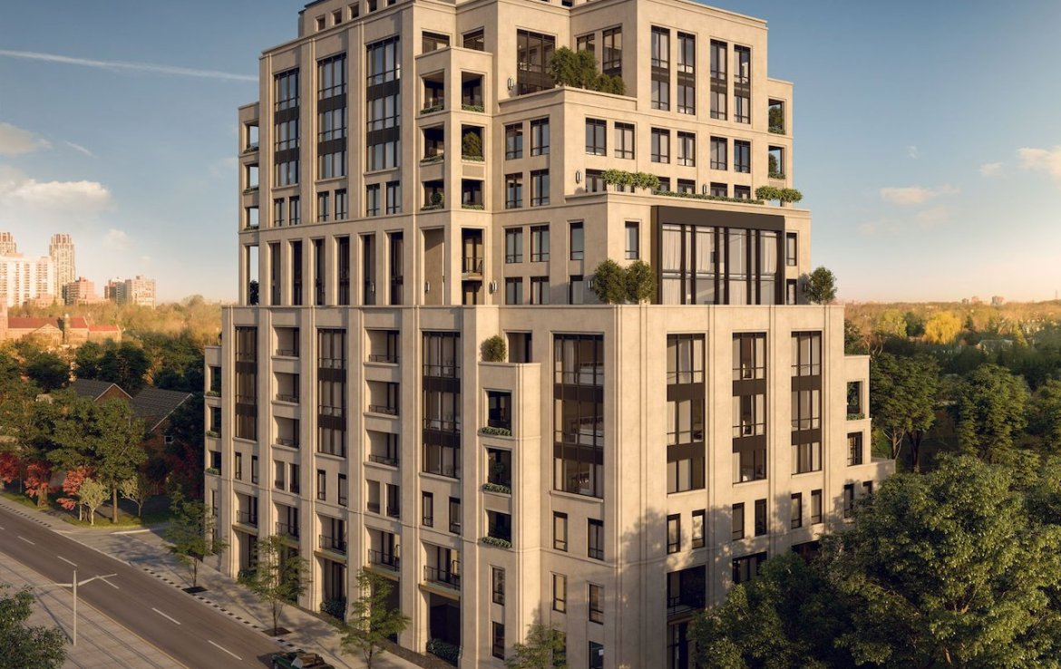 Exterior rendering of One Forest Hill Condos at dusk.