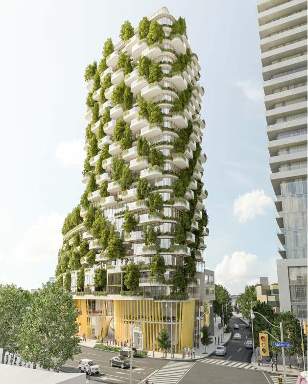 Full front rendering of Designers Walk Condos during the day.