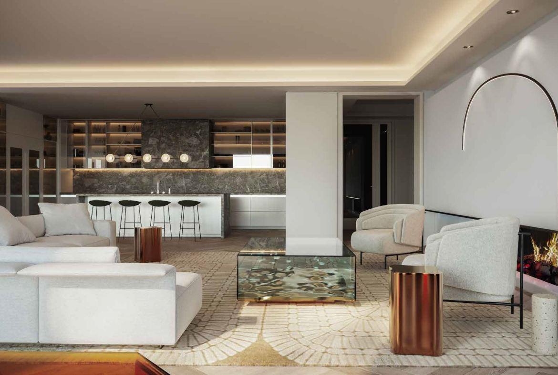 Rendering of No. 7 Rosedale Condos interior suite living area.