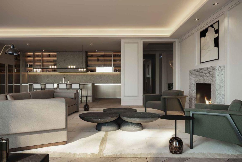 Rendering of No. 7 Rosedale Condos interior suite living room.