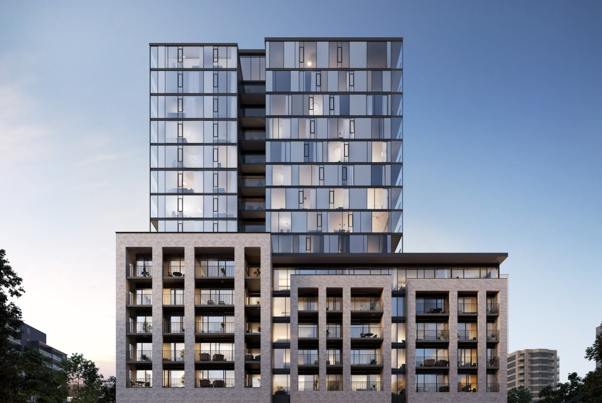 Rendering of ARTFORM Condos exterior full at dusk.