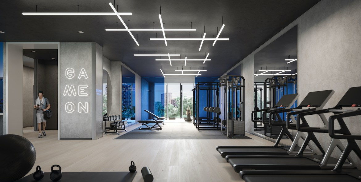 Rendering of ARTFORM Condos fitness centre.