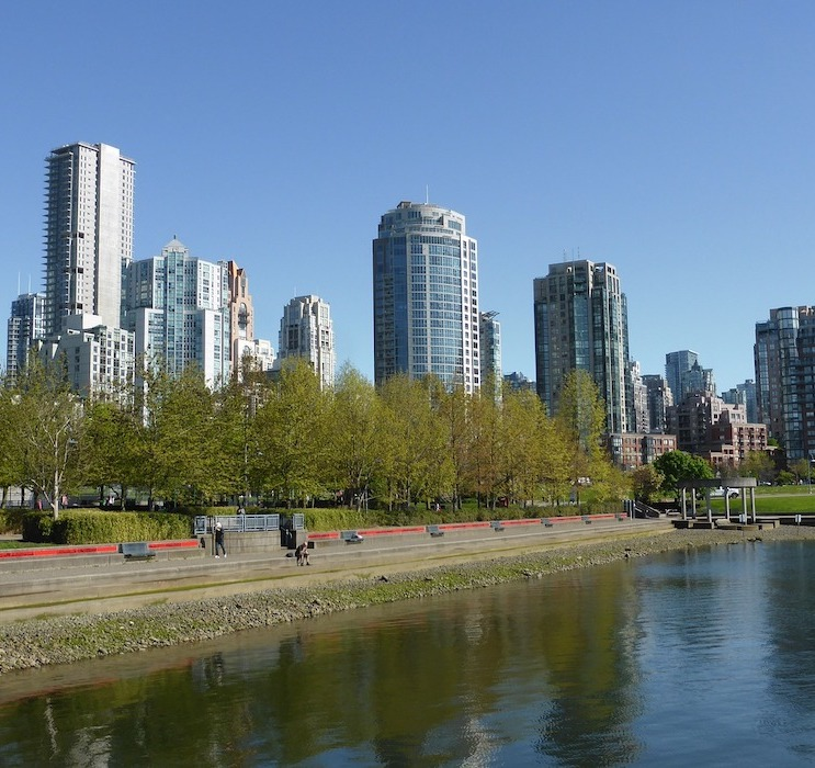 Skyline of high-rise condo buildings.