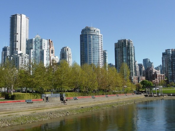 Skyline of high-rise condo buildings.