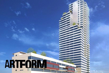 Rendering of Artform Condos with logo overlay.