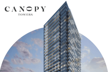 Rendering of Canopy Towers Condos with logo overlay.