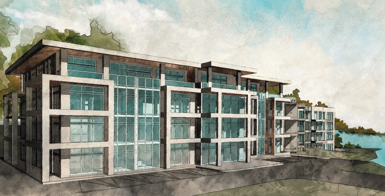 Lakeside Muskoka Condos exterior rendering.