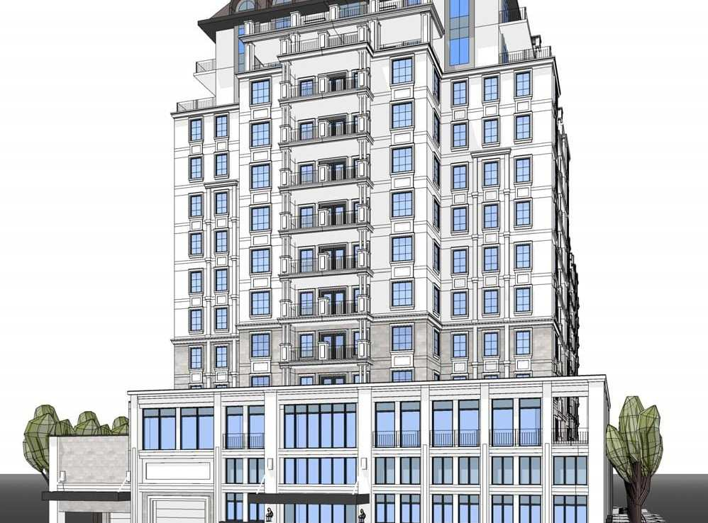 Rendering of 420 Guelph Line Condos full building exterior.