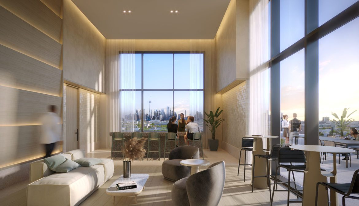 Rendering of Queen and Ashbridge Condos party room.