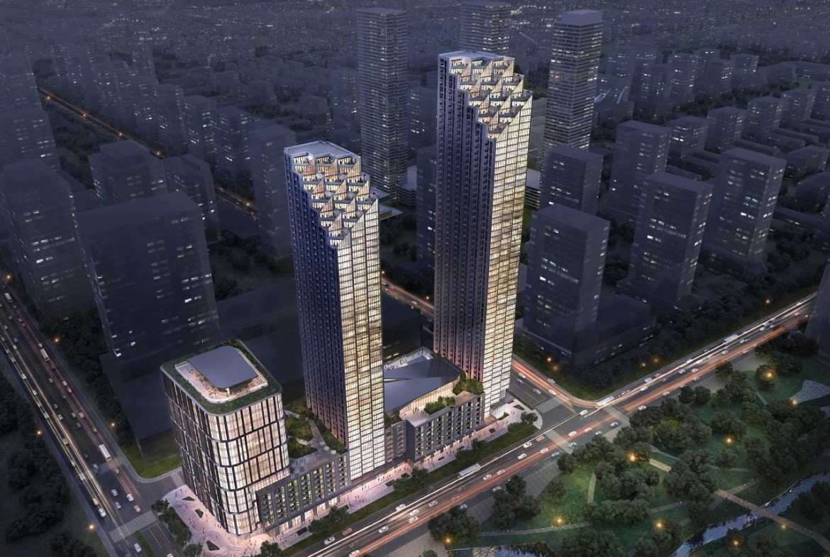 Aerial rendering of 7800 Jane Condos in Vaughan.