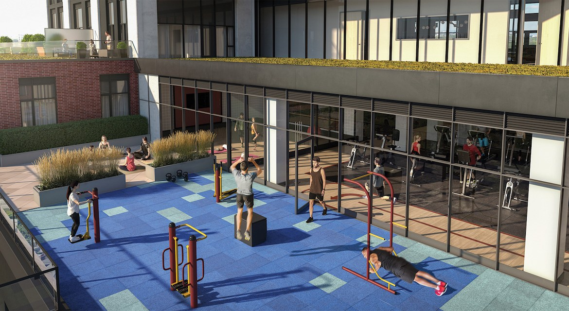 Rendering of Artsy Condos outdoor yoga and crossfit facility.