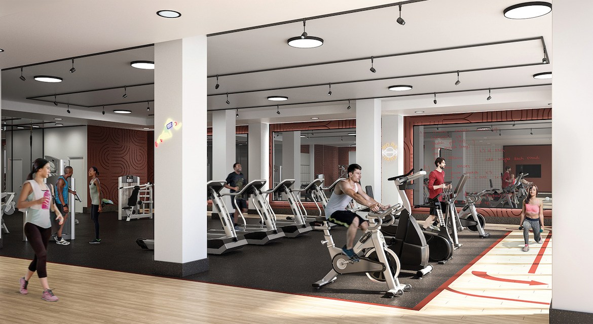 Rendering of Artsy Condos indoor mega gym.