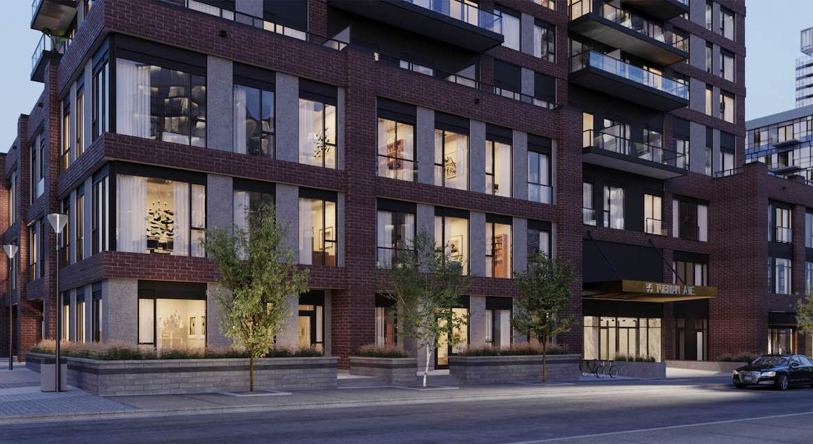 Rendering of Artsy Condos exterior siding at night.