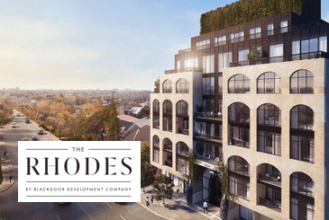 Rendering of The Rhodes Condos with logo overlay.