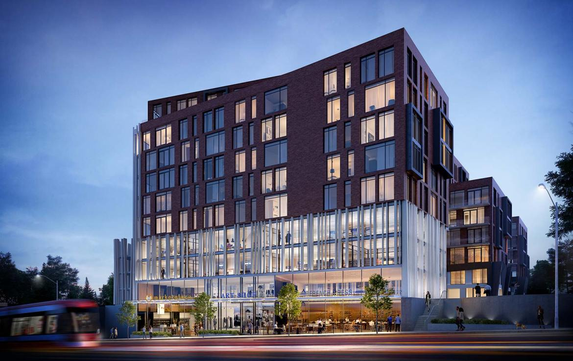 Exterior rendering of Carlyle Junction Condos at night