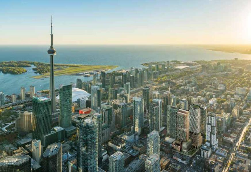 Aarial rendering of RioCan Hall Condos and the Toronto skyline with CN Tower.