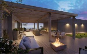 Exterior rendering of The Carvalo on College Condos rooftop lounge.
