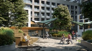 Rendering of an outdoor courtyard area of The Thornhill Condos.