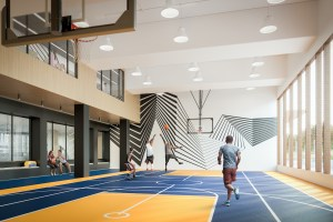Rendering of The Thornhill Condos indoor basketball court.