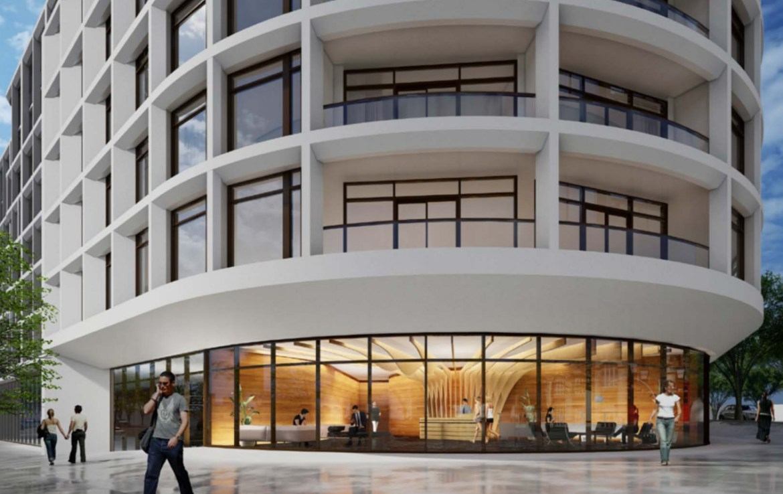 Exterior rendering 3100 Bloor Street West Condos lobby