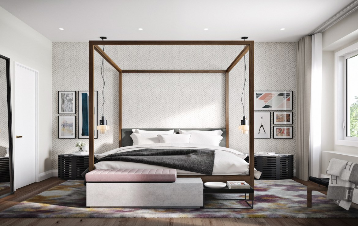 Rendering of Community Crafted Towns suite bedroom.