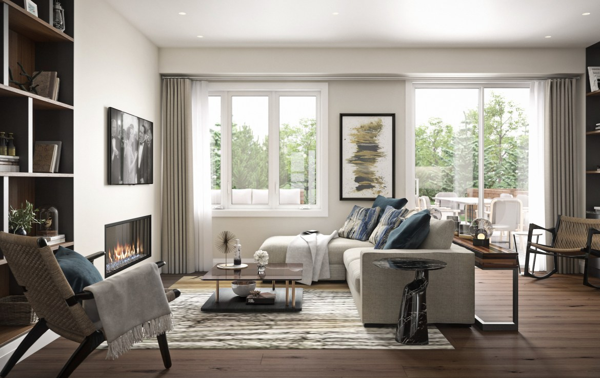 Rendering of Community Crafted Towns suite living room with fireplace.