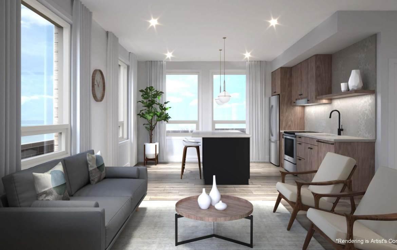 Rendering of Reign Condos suite interior.
