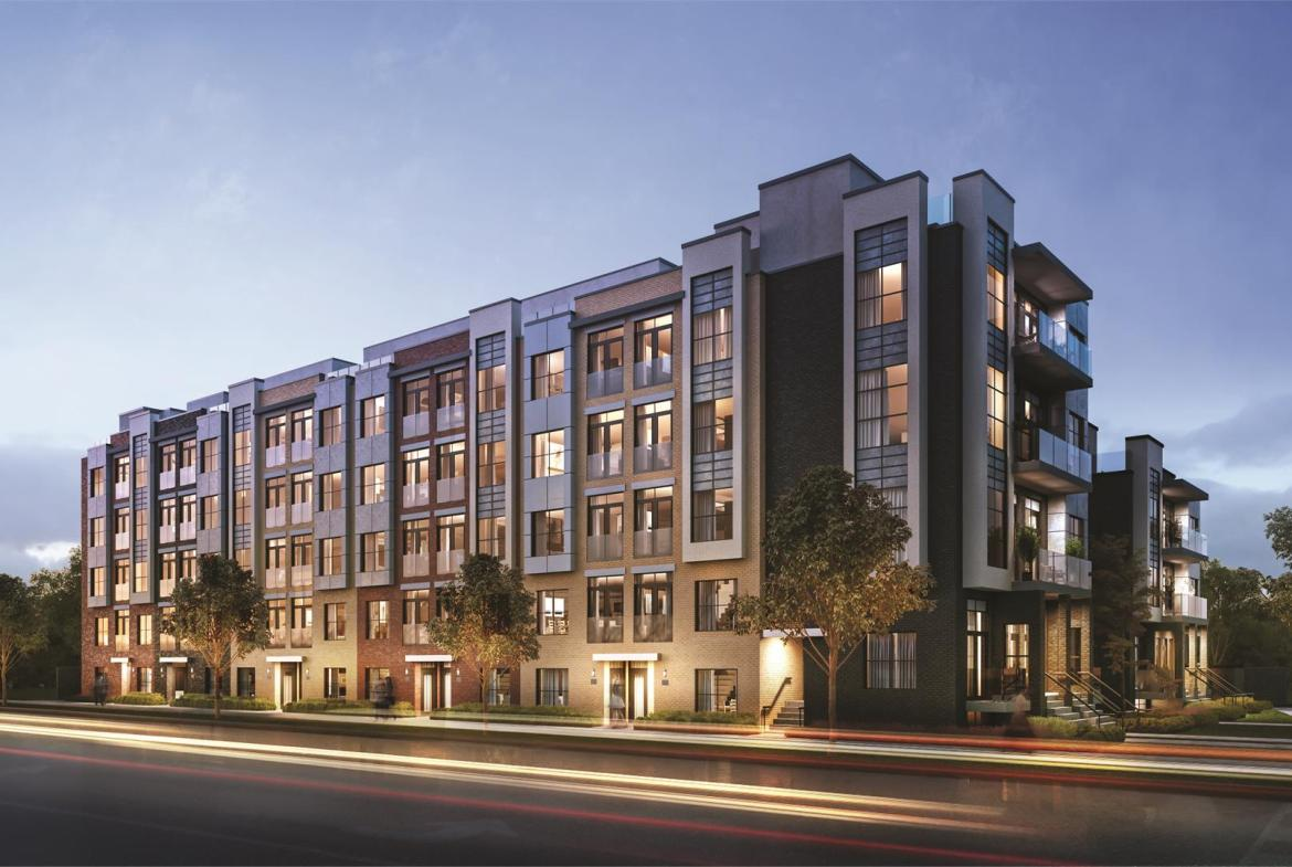 Rendering of Harrington Residences building exterior at dusk with streetscape.