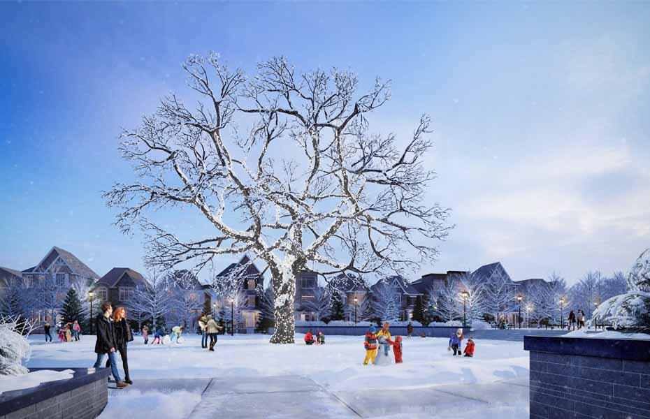 Rendering of Union Village community land with preserved bur oak tree in the winter.