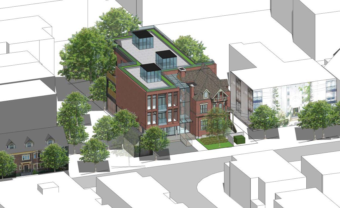 Aerial front-facing rendering of 101 Heath Street Condos.