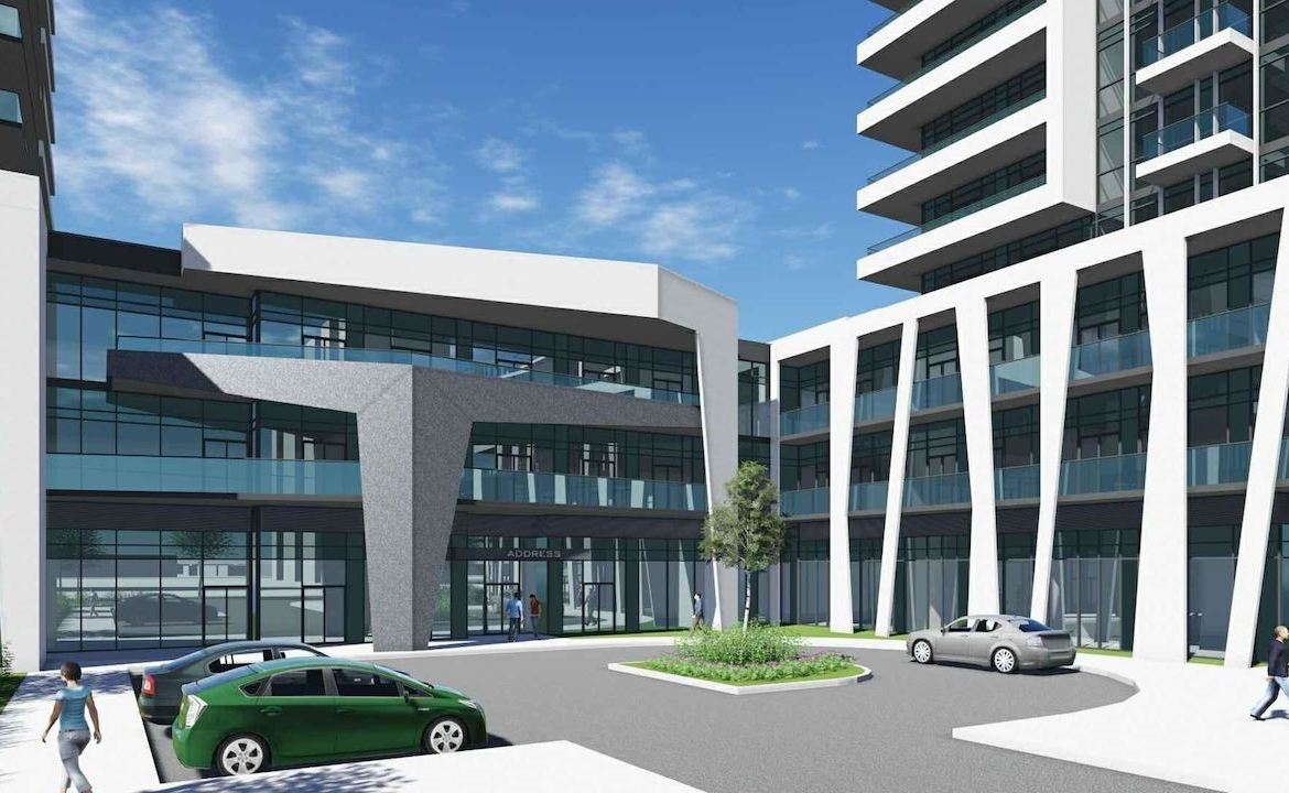 Rendering of 1221 Markham Road Condos exterior entrance area with courtyard and parking.