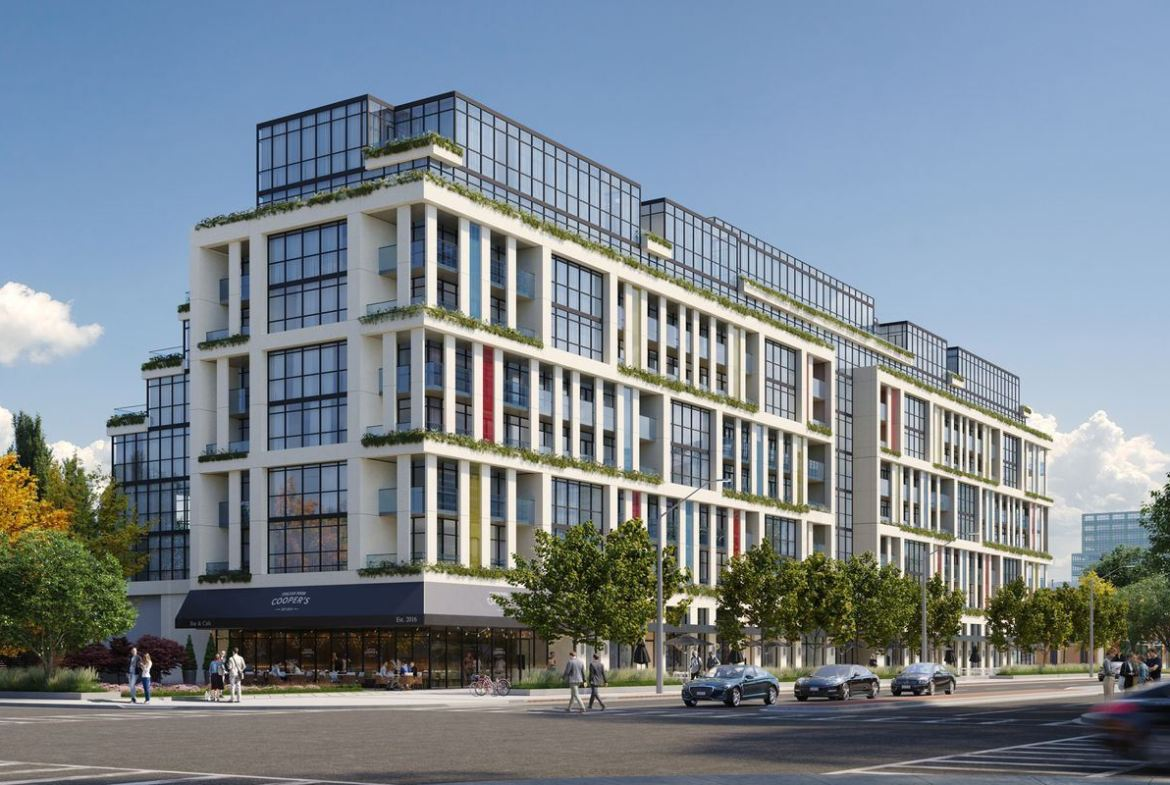 Rendering of 181 East Condos exterior and streetscape.