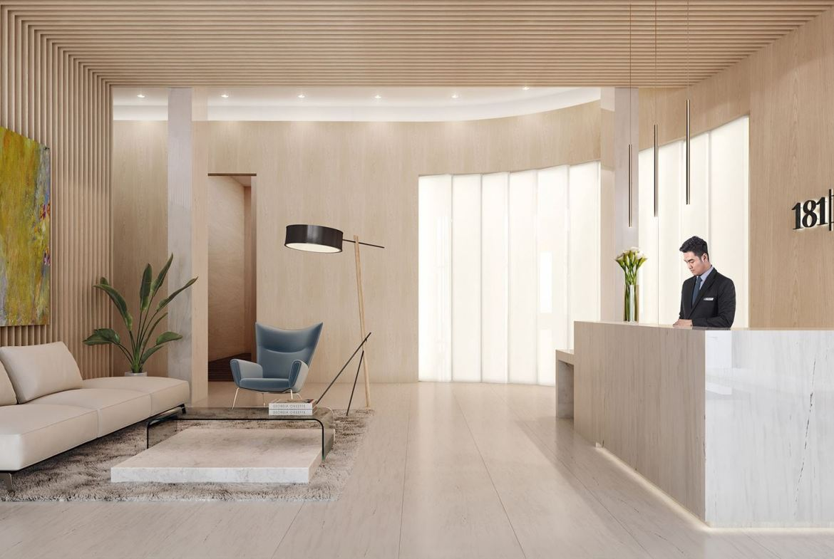 Rendering of 181 East Condos lobby.
