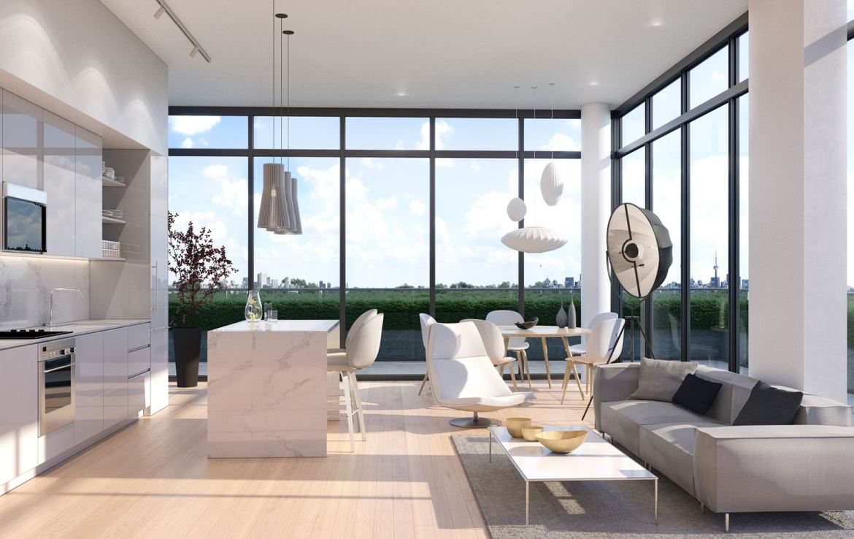 Rendering of 181 East Condos interior suite living area open concept.
