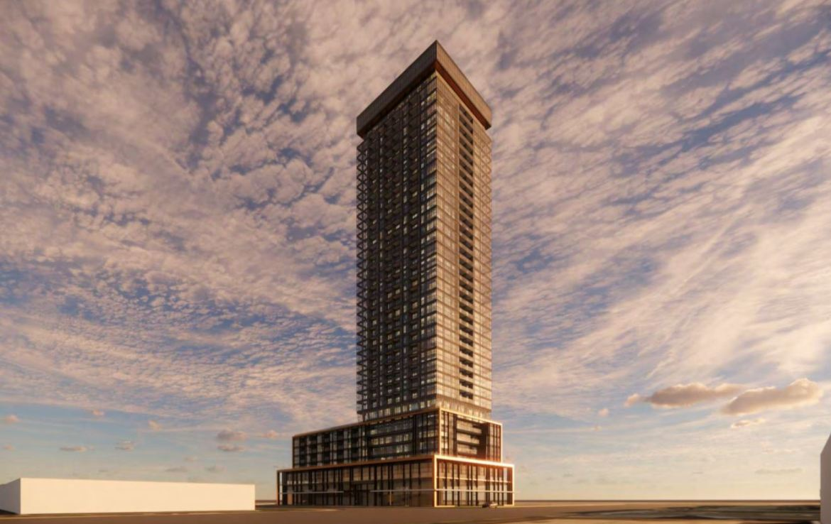 Rendering of 1910 Eglinton East Condos exterior at dusk.